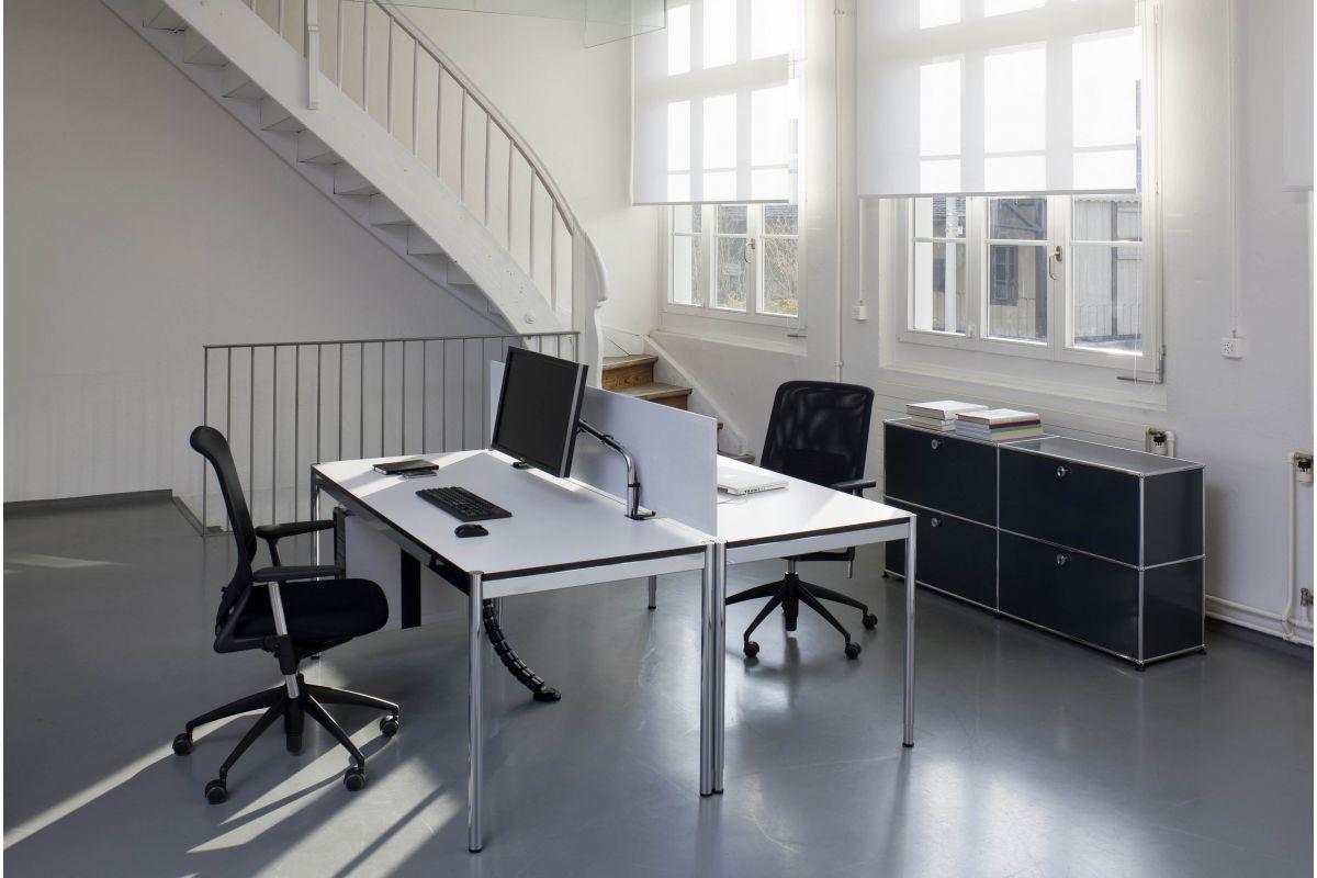 Usm usm haller plus table rectangulaire round office for Bureau usm haller