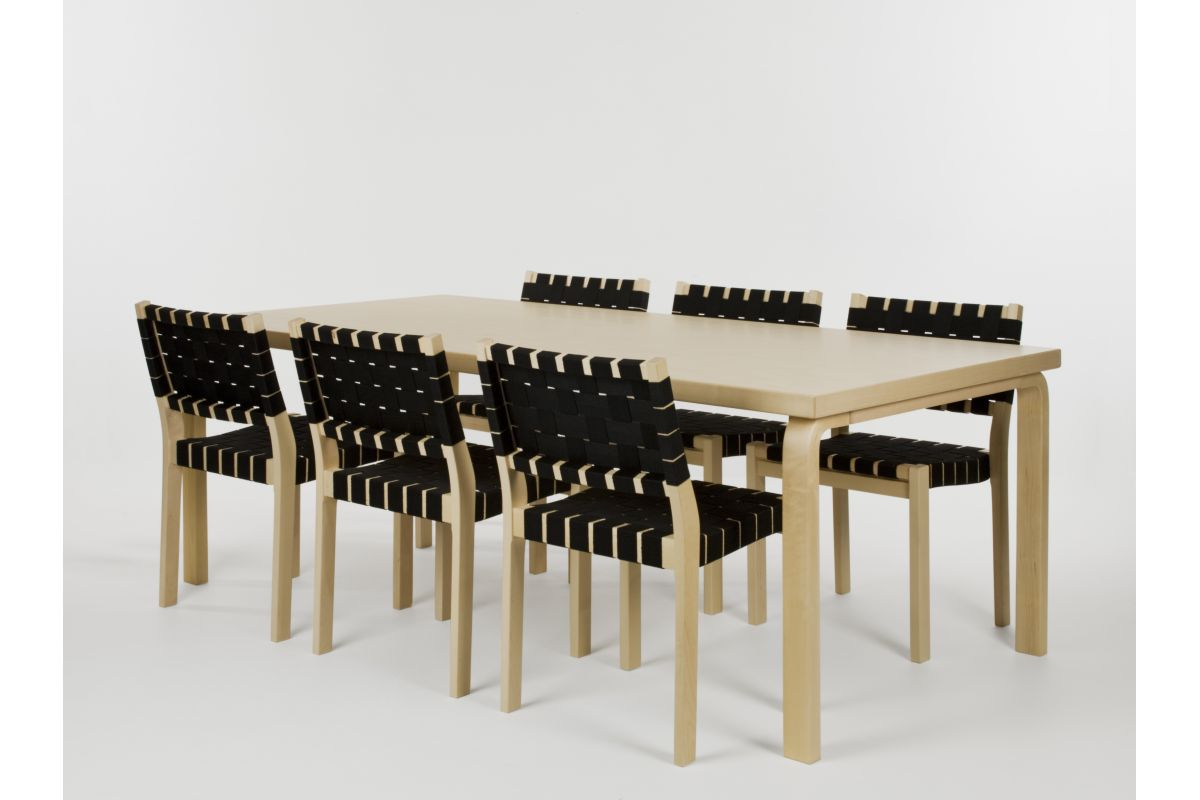 Artek table 86 210x100 cm round office mobilier de for Hauteur table standard