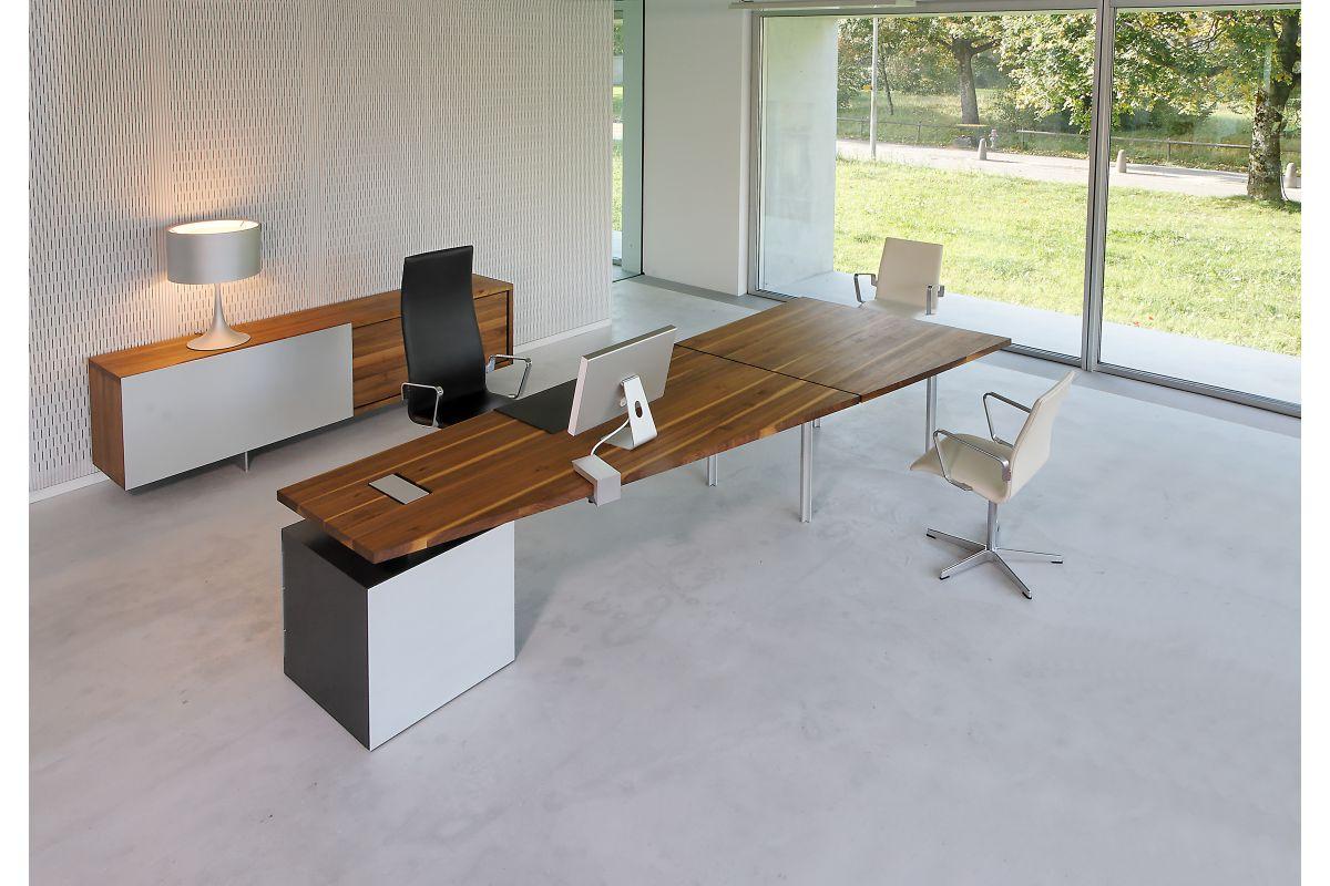Zoom by mobimex tix bureau direction bois massif round for Hauteur table standard