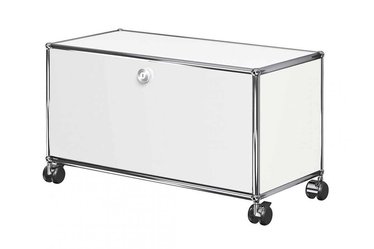 Usm usm haller meuble bas 75cm sur roulettes round for Meuble bureau sur roulettes