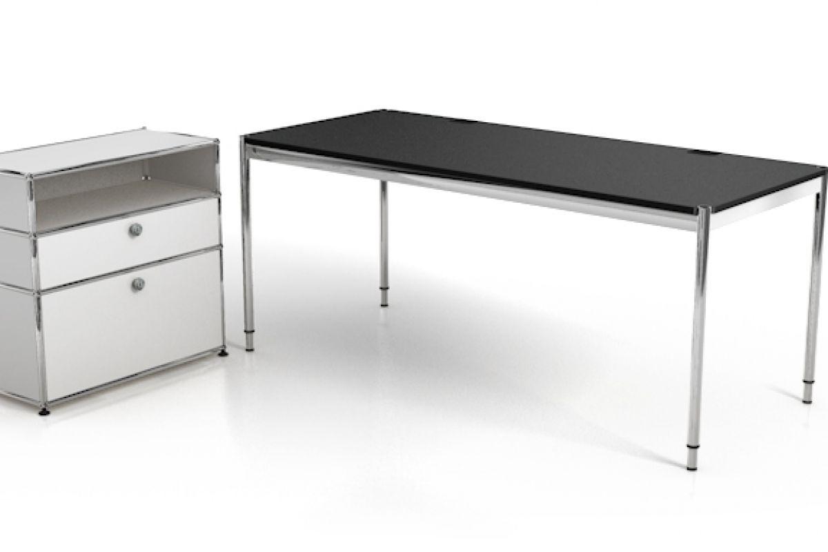 Usm usm haller meuble retour round office mobilier de for Bureau usm haller